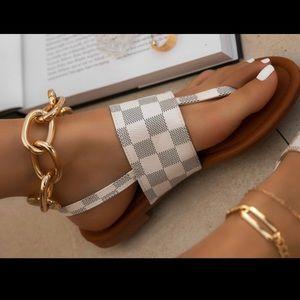 Checkered Thong Sandals